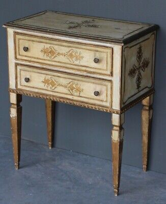 Rare small sized antique Italian Neoclassical carved gilt chest drawers bedside