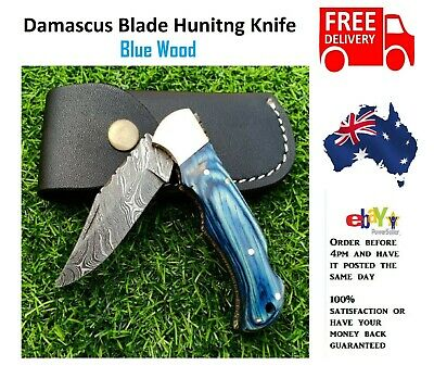 Handmade Blue Wood  Damascus Pattern Steel Pocket Knife Folding Hunting Camping