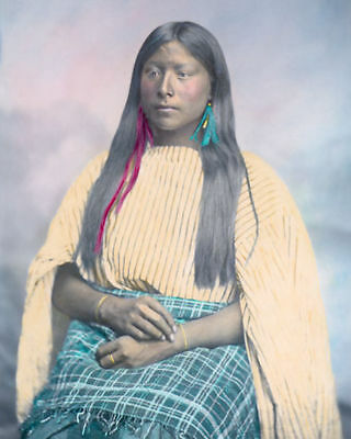"""COMANCHE WOMAN NATIVE AMERICAN INDIAN 1867 8x10"""" HAND COLOR TINTED PHOTOGRAPH"""