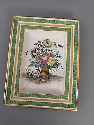 Vintage MOTTAHEDEH Italy Gilded 5 1/4 x 7 3/4 Green Floral Plate Pin Dish Tray