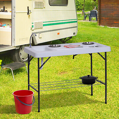 Outsunny Camp Folding Table Fish Cleaning Table Washing Sink