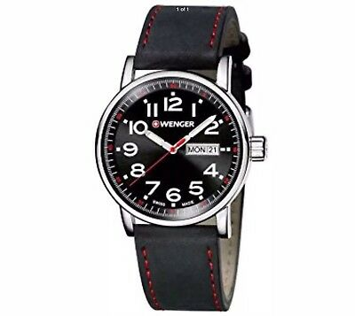 Wenger Black Dial & Leather Strap 01.0341.103 Men's Watch NWT!