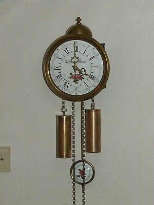 Vintage DUTCH 8 day Comtoise Wall Clock Enamel Dial/Pendel,Franz Hermle Movement