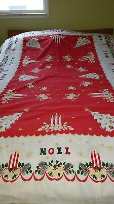 Vintage Red Gold Green Noel Christmas Tablecloth Noel And Candles