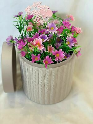 Hat Box Flowers Artificial Silk Bouquet Gift Delivered Daisy Faux Floral