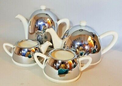 "Vintage Ever Hot ""r"" Insulated Chromed Teapot Coffee Pot Sugar Milk Set"