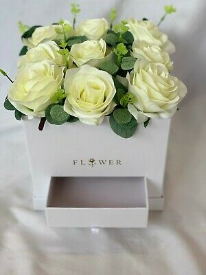 Mothers Day Rose Hat Box Gift Bouquet Flowers Artificial Silk Roses for Mum Nan