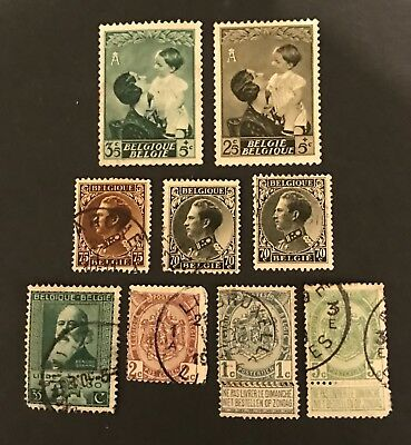 Belgium postage stamps old. Lot of 9 old              No