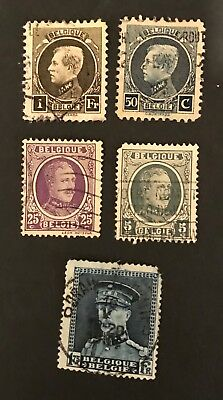 Belgium postage stamps old. Lot of 5 old 1920's              No