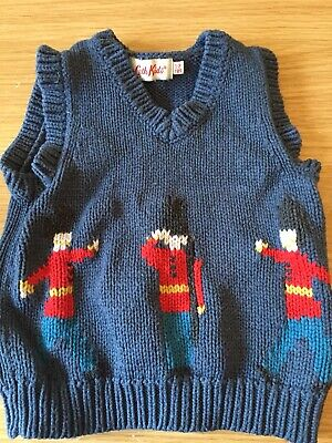 Cath Kidston London Soldier Baby Boys 12-18 1-2 Years Jumper Waistcoat  Sweater