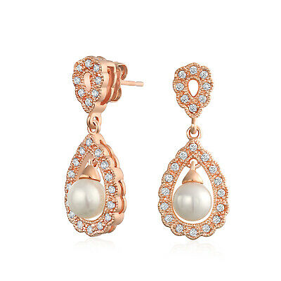 Bridal Filigree White Simulated Tear Dangle Earrings Prom Rose Gold Plate Brass