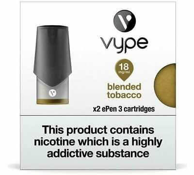 VYPE EPEN 3 Blended Tobacco 0mg-18mg ePen3 Caps Refill Cartridge|up to 10 Packs