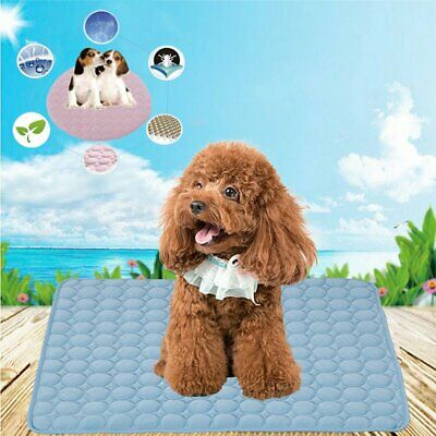 Pets Cooling Fabric Ice Silk Mat Non-Toxic Cool Gel Pad Indoor Summer Chilly KU