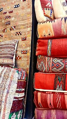Vintage Moroccan Kilim Floor Cushions Boho Seating Traditional Handmade woven