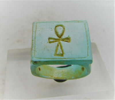 Beautiful Ancient Egyptian Glazed Faience Ring With Anhk On Bezel Key Of Life
