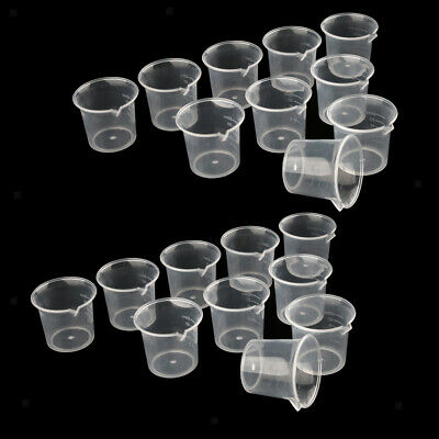 20 Pieces Laboratory Kitchen Clear Measuring Cup Jug 25ml Food Grade Plastic