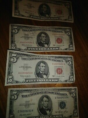 Lot of 4. 1-1953 blue $5 Silver Certificate Note , 3 -1963 $5 red notes.
