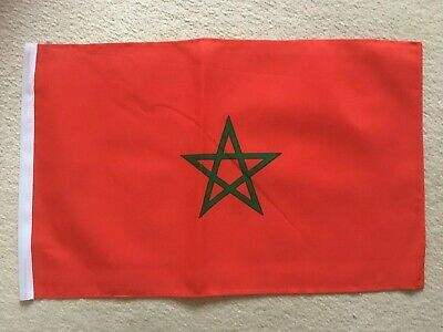"18"" x 12"" Morocco Moroccan Country National Hand Waving Sleeved Polyester Flag"