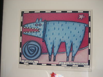 "Framed Lithograph Print ""Fetch Dog"" Signed and Numbered Debra Lawrence"