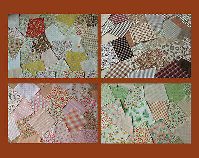 25 Patchwork squares 10 cm  AUTUMN SHADES, Brown, Orange,Yellow, Green.4 packs!