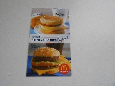 Lot of 10 Mcdonalds Combo Meal Cards/No Expiration