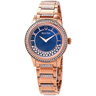 Bulova Crystal TurnStyle Blue Mother of Pearl Dial Ladies Watch 98L247