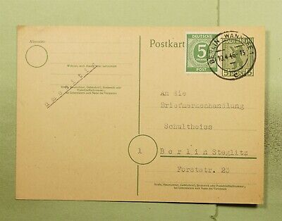 DR WHO 1946 GERMANY BERLIN-WANNSEE UPRATED POSTAL CARD  e02871