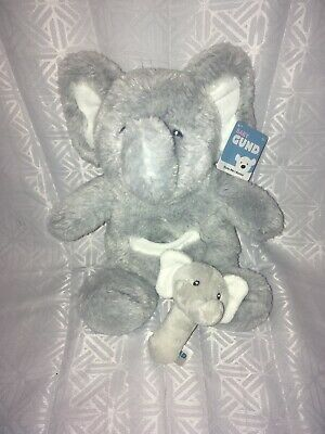 "NWT-13"" Baby Gund Oh So Soft Gray Elephant with Baby Elephant Rattle Plush"