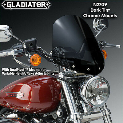Harley Xl883C Sportster Custom Nc Gladiator Windshield Dark Tnt Crome Mnts N2709