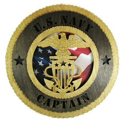 Navy Captain Military Wall Plaque with American Flag