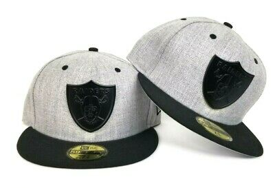 info for 8497e bab56 NFL New Era 59Fifty Gray - Black Oakland Raiders Metal Badge fitted hat