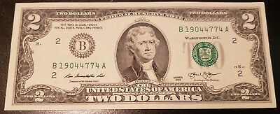 Rare Crisp 2013 Uncirculated $2 Bill Two Dollar B Note (A37)