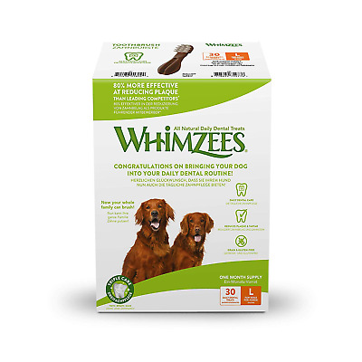 Whimzees Natural Dental Dog Treats, 30-Day Pack, Large Toothbrush, 30 Pieces