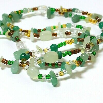 Stone or Glass Bead Necklace Brown Clear Yellow Green Colored 42 Inch