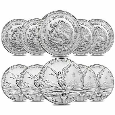 Lot of 10 - 2016 1/20 oz Mexican Silver Libertad Coin .999 Fine BU