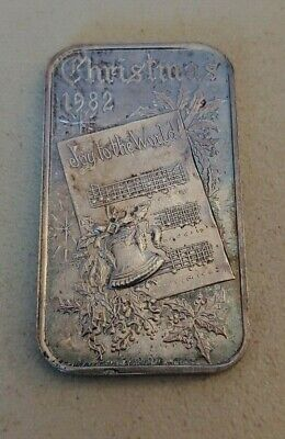 1982 Dahlonega Mint Christmas 1982 1-oz .999 silver art bar - heavy toning
