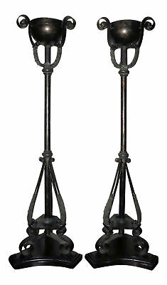 1092-801: Pair of MAITLAND SMITH Tall Iron/Metal and Bronze Candle Holders