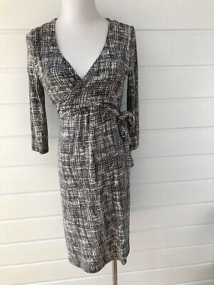 RIPE Maternity Black & White Patterned 3/4 Sleeve Knee Length Dress- Small