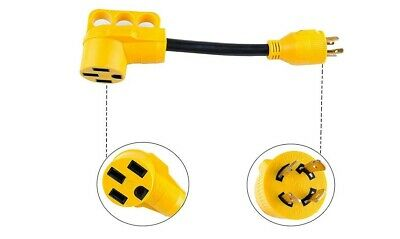 RV Generator Power Adapter-30Amp Male 4 Prong Plug to 50 Amp Female 12inch ST...