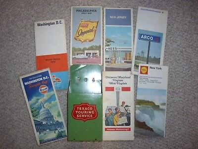 Texaco vintage map holder &  maps. New York, New Jersey, Virginia, Maryland