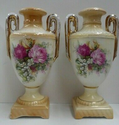 Pair Of Victorian Continental Mantle Vases Urns Rose Decoration Porcelain China