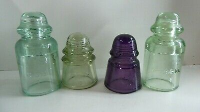 4 Vintage Glass Australian Insulators Amethyst Green Agee Ccg Agm