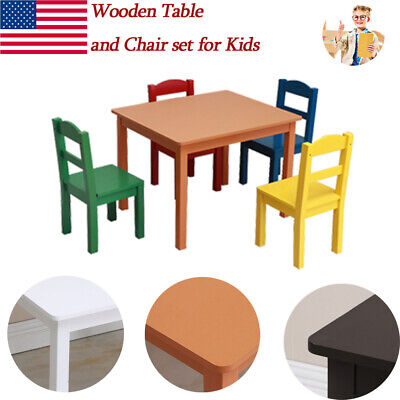 Awe Inspiring Kids Table And Chair Set 5 Piece Natural Wood Activity Table Machost Co Dining Chair Design Ideas Machostcouk