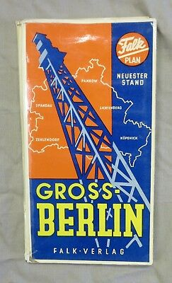Early 1950s MAP of GROSS BERLIN by FALK VERLAG WEST GERMANY Cold War Vintage