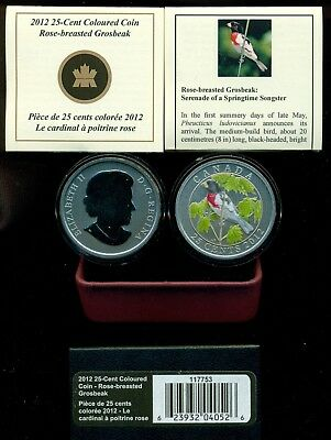 2012 'Rose-Breasted Grosbeak' Colorized 25ct Coin (Oversized)