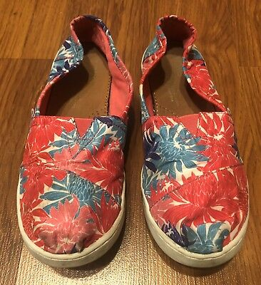 3fe03ec8518f Girls Toms Floral Flower Print Pink Multicolor Flat Casual Slip On Shoes  Size 3Y