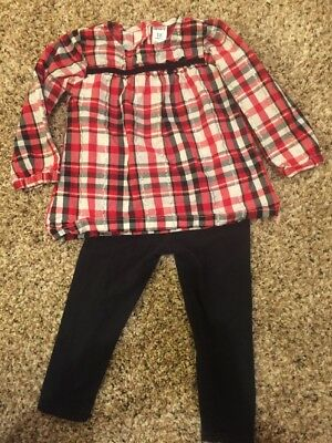 Carter's Girls Holiday Outfit  Size 18 MOS Red/Black/Silver/White EUC