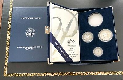 2008 w Platinum 3 coins Proof set(1oz coin not included) American Eagle