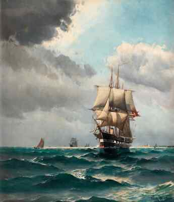 Art wall Best gift Seascape Ship Sailing print Oil painting on canvas Home Decor