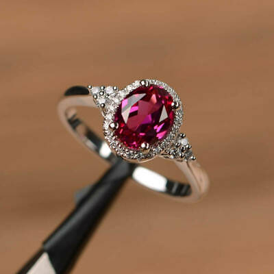 Oval Red Ruby Halo Wedding Ring Gorgeous 925 Plated Silver Engagement Jewelry